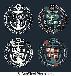 marine retro emblems