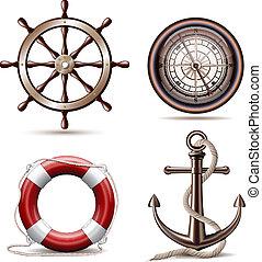 Set of marine symbols on white background. Vector ...