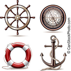 Set of marine symbols on white background. Vector...