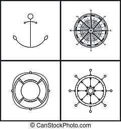 Icons anchor, compass rose, lifebuoy, ship's wheel. Set of maritime icons for web design, black and white vector llustration