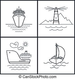 Set of maritime icons, vector