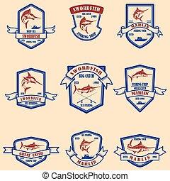 Set of marlin, swordfish emblems. Design element for logo, label, sign, poster, t shirt.