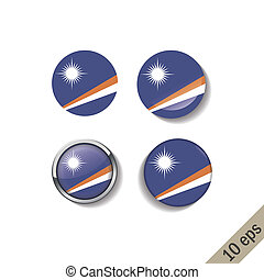 Set of MARSHALL ISLANDS flags round badges.
