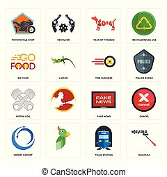 Set of mascara, train station, import export, fake news, piston log, tire business, go food, year the dog, motorcycle shop icons