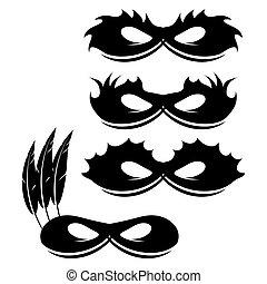 Set of Mask Icons Isolated on White Background