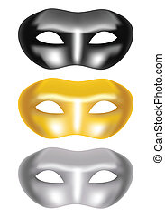 set of masks on a white background