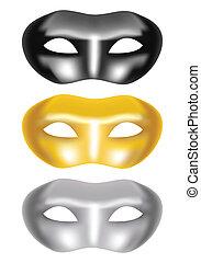 set of masks on a white background