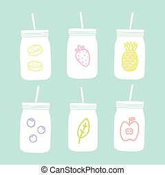 Set of mason jars with different fruits.