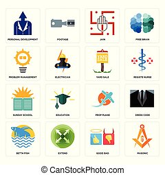 Set of masonic, good bad, betta fish, prop plane, sunday school, yard sale, problem management, jain, personal development icons