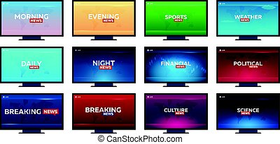 Set of Mass media. Sports, weather, financial, political, culture and science news. Breaking, morning, night, daily and evening news banner. Live. Television studio. TV show.