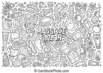 Set of Massage and Spa objects - Hand drawn line art doodle...