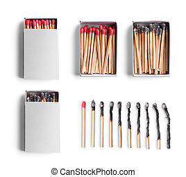 Set of match boxes and matchsticks isolated on white background