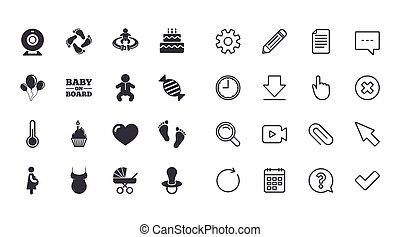Set of Maternity, Pregnancy and Baby care icons.