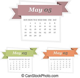 Set of May 2017 calendar with ribbon in a flat design
