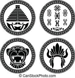set of mayan signs. stencils