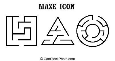 Set of maze icons,labyrinth isolated on white background