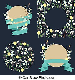 Set of meadow flowers compositions
