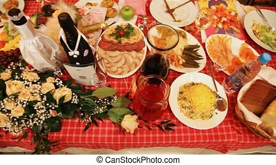 Set of meal, snack and drinks on celebratory wedding table