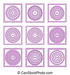 Set of meander borders and frames. Ancient traditional greek decoration. greece vector Pink, and purple colors.