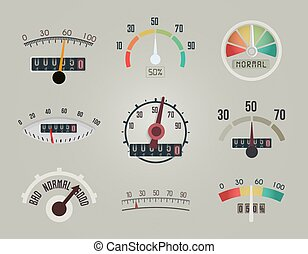 Set of measuring device display, arrow and scale on the meter screen of business indicator, speedometer icons, vector logo design.
