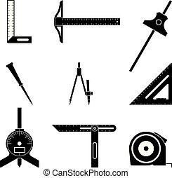 Set of measuring tool icons. Silhouette vector