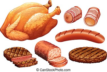Set of meat on white background