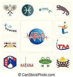 Set of med, bird nest, frog, katana, democratic party, trademark, bowling team, volley, upward icons