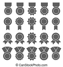 Set of medals, badges or awards with ribbons. Flat vector icon set