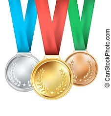 set of medals composition on white