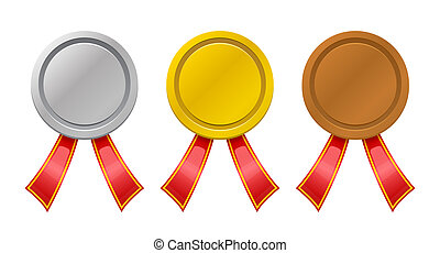 set of medals on a white background