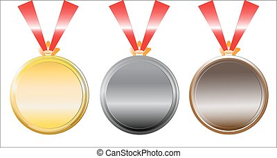set of medals on white.