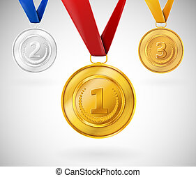 Set of medals - Set of three medals. Eps 10