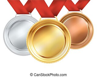 set of medals with red ribbons on white. vector illustration