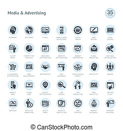 Set of media and advertising icons - Set of business icons...