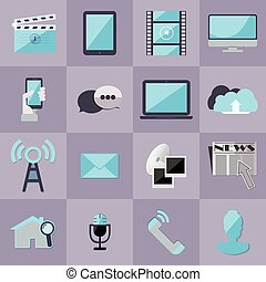 Set of media flat modern icons