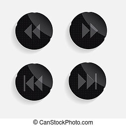 Set of Media Glass Icons Vector Illustration
