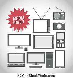 Set of media technology icons