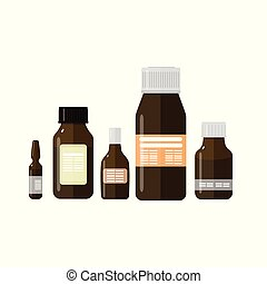Set of medical bottles on a white isolated background