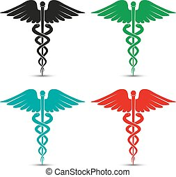 Set of medical caduceus symbol multicolored with shadow
