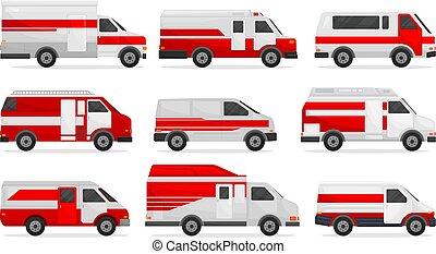 Set of medical cars. Vector illustration on white background.