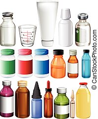 Set of medical containers on a white background