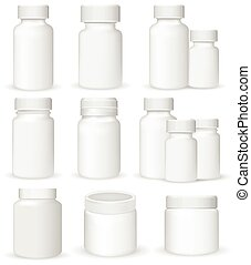 Set of medical containers, realistic vector illustration