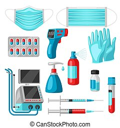 Set of medical equipment and protection.