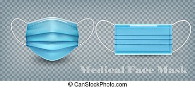 Set of medical face masks on transparent background. Vector