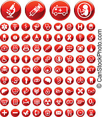 Set of medical icons and warning si - Set of simple medical...