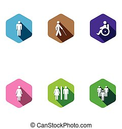 set of medical icons. Flat desigh, long shadows - set of...