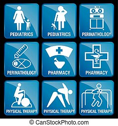 Set of Medical Icons in blue square background - PEDIATRICS, PERINATOLOGY, PHARMACY, PHYSICAL THERAPY