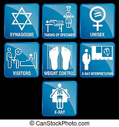 Set of Medical Icons in blue square background - SYNAGOGUE, TAKING OF SPECIMEN, UNISEX, VISITORS, WEIGHT CONTROL, X-RAY INTERPRETATION, X-RAY