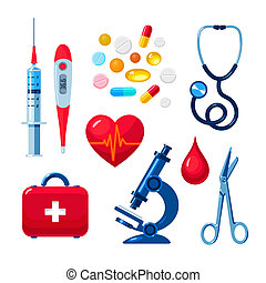 Set of medical icons isolated, color flat - Tools for ...