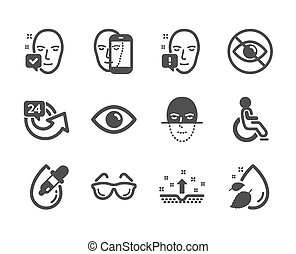 Set of Medical icons, such as Clean skin, Face recognition, 24 hours. Vector